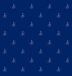 Seamless sea pattern with yacht vector
