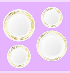 set of ceramic plate with gold yellow border vector image