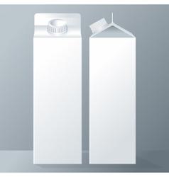 set of white carton beverage pack for milk vector image