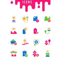 set simple icons business electricity vector image