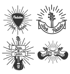 set vintage rock emblems vector image
