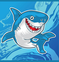 Shark angry blue mascot logo vector