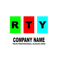 simple logo the three letters rty are located on vector image