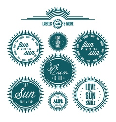 Sun related vintage label set vector