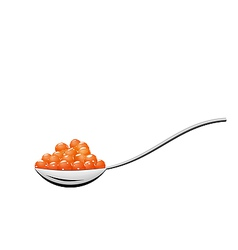 Teaspoon with red caviar isolated on white vector