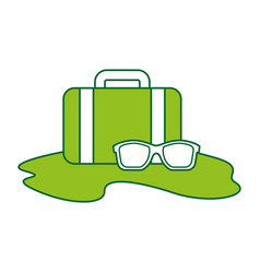 Travel suitcase with sunglasses vector
