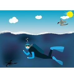 Underwater People Cartoon Scuba Diver Concept vector image