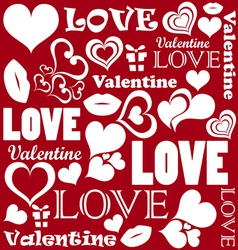 Valentine pattern with love symbols vector image