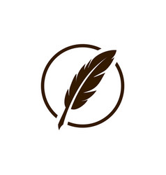 Vintage feather quill pen logo with circle frame vector
