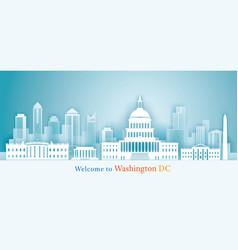 Washington dc landmarks skyline background paper vector