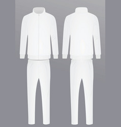 White tracksuit front and back view vector