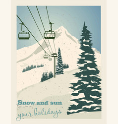 winter landscape with ropeway station and ski vector image