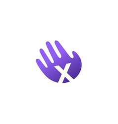 x letter hand palm hello logo icon vector image