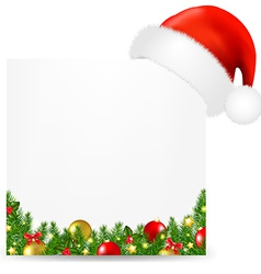 Xmas Card With Santa Hat And Text vector image