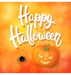 Halloween greeting card with pumpkin angry spider vector