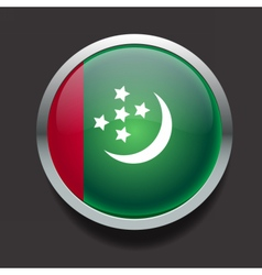 Round flag of Turkmenistan vector image