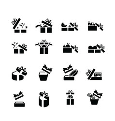 set black gift icons open gift box vector image vector image