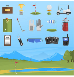set of golf icons isolated vector image