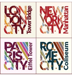 T-shirt design set NYC London Rome Paris vector image