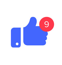 thumbs with counter notification icon counter and vector image