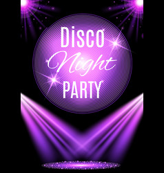 disco party poster template with shining element vector image