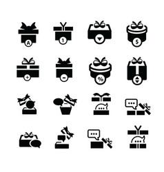 set black gift and bubble talk icons vector image vector image