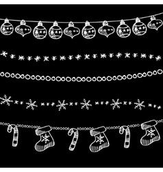 Set of christmas chalk doodle garlands dividers vector image vector image