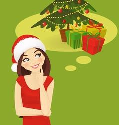 Chrismas woman thinking vector image vector image
