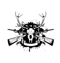 crossed guns and skull of deer vector image