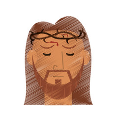 drawing face jesus christ crown design vector image
