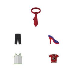 Flat icon garment set of pants heeled shoe vector