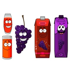 Funny cartoon grape and juice vector image vector image