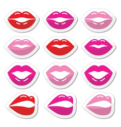 Lips kiss red pink and black glossy icons vector image