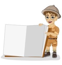 little explorer boy in a safari outfit vector image vector image
