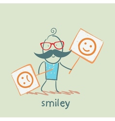 people holding posters with funny and sad smiles vector image vector image