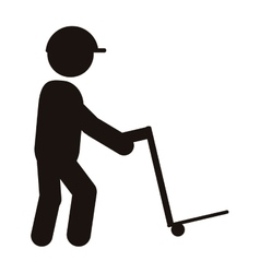 Person with cargo cart icon vector