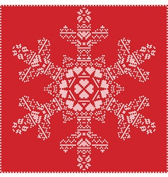 Winter pattern in snowflake shape on red vector image vector image