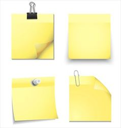 Yellow sticky blank notes with office supplies vector image vector image