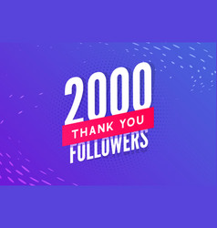 2000 followers greeting social card thank vector image