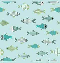 aqua abstract fish seamless pattern vector image