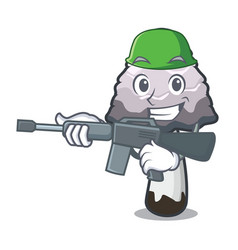 Army shaggy mane mushroom character cartoon vector