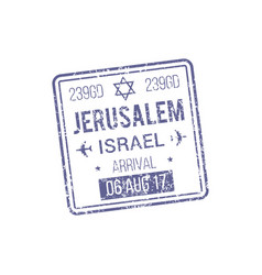 arrival to jerusalem isolated visa stamp template vector image