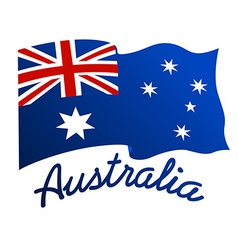 Australian flag in wind with word Australia vector