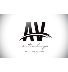 Av a v letter logo design with swoosh and black vector