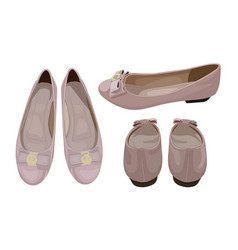 Ballet flats in dusty pink color fashionable look vector