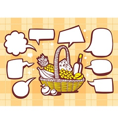 Basket with food with speech comics bubbl vector