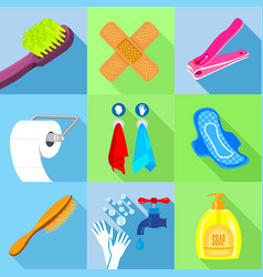 bath equipment icons set flat style vector image