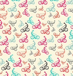 Biker - Bicyclist Retro Seamless Background - vector image