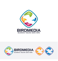 bird media logo template vector image