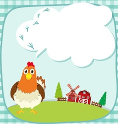 Border design with chicken on the farm vector image vector image
